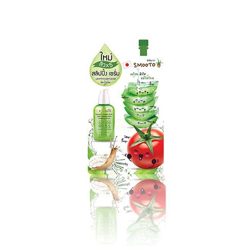 ครีมหอยทากหน้าใส Smooto Tomato Aloe Snail White & Acne Sleeping Serum